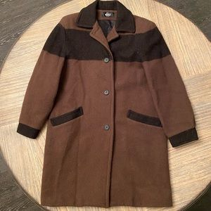 Woolrich Men's small wool trench coat/Long peacoat